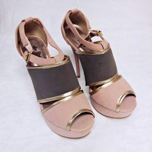 Charlotte Russe Platform Heels Gray Pink Gold NWT